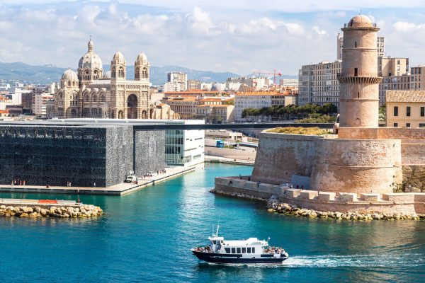 38160810 - saint jean castle and cathedral de la major and the vieux port in marseille, france